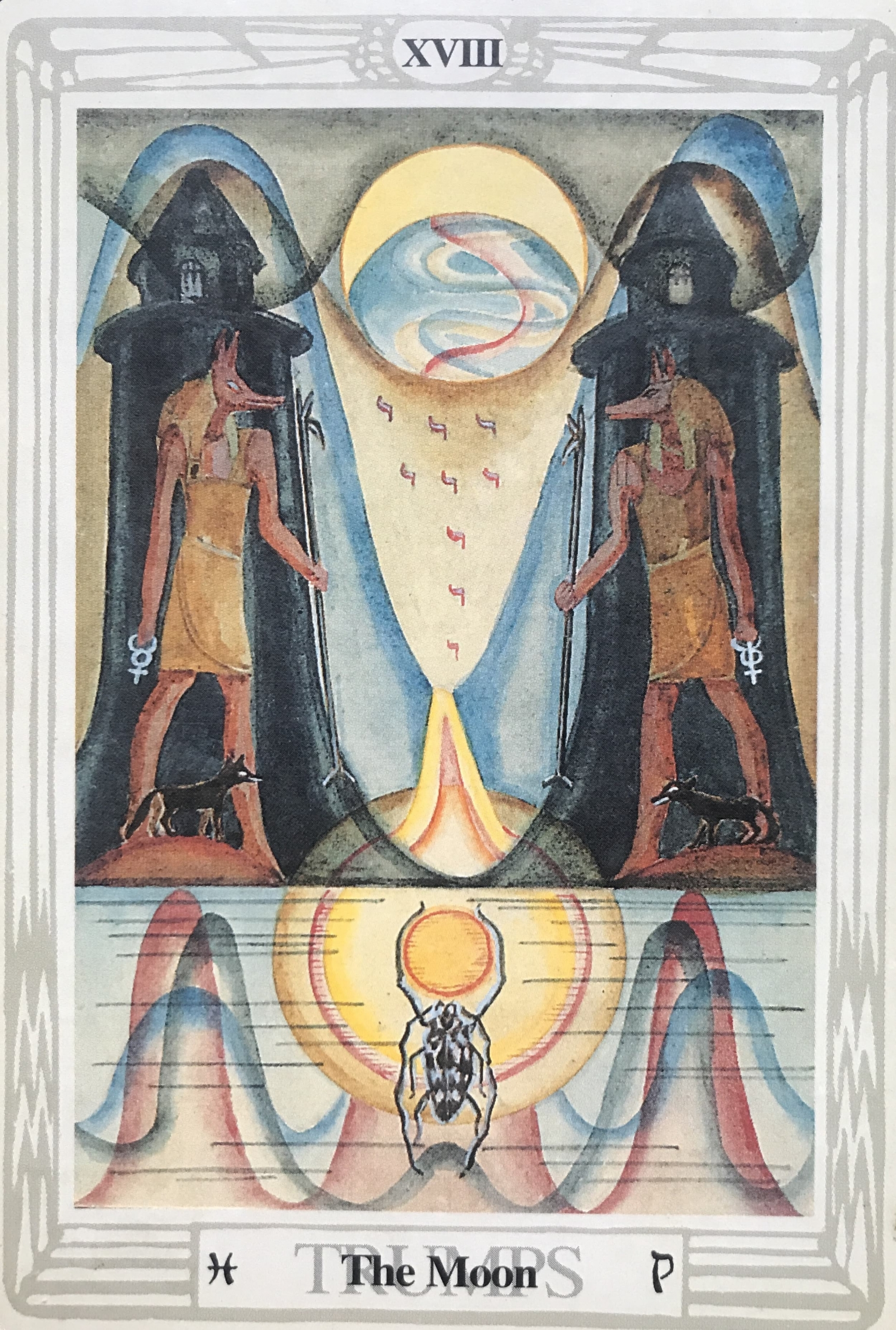 XVIII Trumps Thoth Tarot the Moon